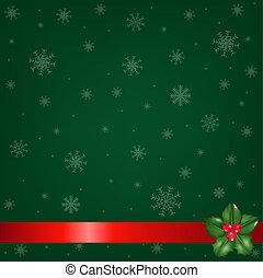 groene, kerstmis, achtergrond, met, hulst bes