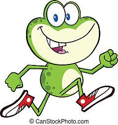 groene kikker, rennende , met, gymschoen