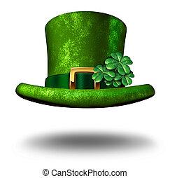 groene, klaver, hoge hoed