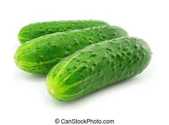 groene, komkommer, groente, fruit, vrijstaand