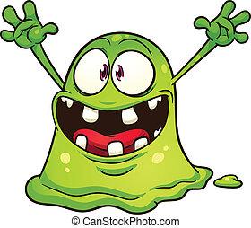 groene, kwak, monster