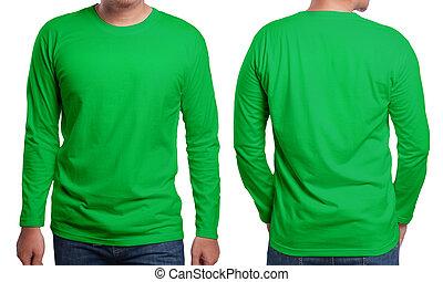 groene, lang, sleeved, hemd, ontwerp, mal