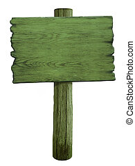 groene, leeg, hout, wegaanduiding, vrijstaand, op wit