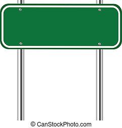 groene, leeg, verkeersbord