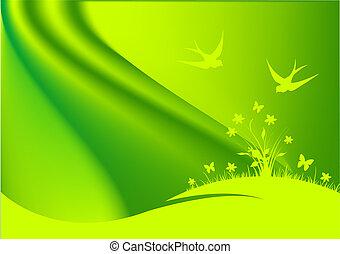 groene, lente, achtergrond