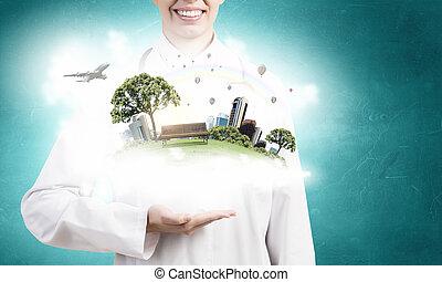 groene, leven, in, ons, handen