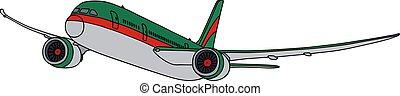 groene, lijnvliegtuig, straalvliegtuig