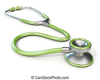 groene, medisch, stethoscope, 3d