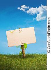 groene, meldingsbord, -, eco, vriendelijk, communicatie