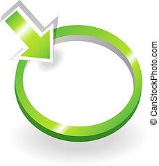 groene, meldingsbord, met, het richten van pijl