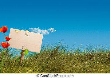 groene, meldingsbord, wild, land, -, eco, vriendelijk, communicatie