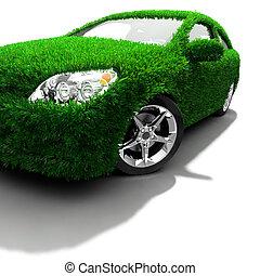 groene, metafoor, eco-vriendelijke, auto