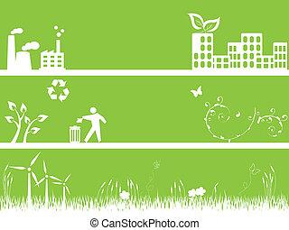groene, milieu, en, stad