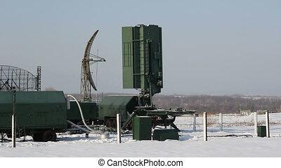 groene, militair, radar, rotates., hd, h.