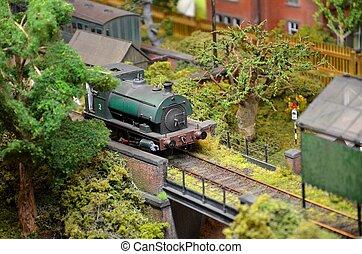 groene, model trein, stoomlocomotief