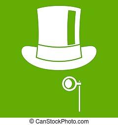 groene, monocle, hoedje, pictogram
