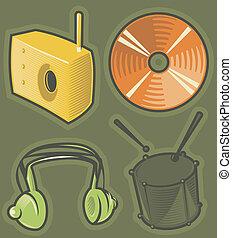 groene, muziek, iconen