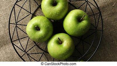 groene, nat, appeltjes , in, vaas