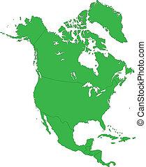 groene, noord-amerika, kaart