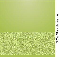 groene, ornament, japanner