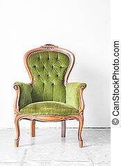 groene, ouderwetse , stoel