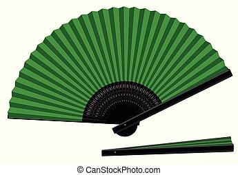 groene, overhandiig ventilator, gesloten, black , open