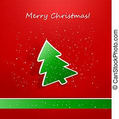 groene, papier, tre, kerstmis kaart