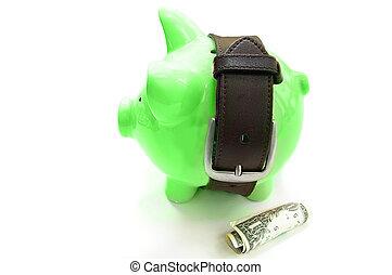 groene, piggy bank , met, strak, riem, -, geld, besparing, concept