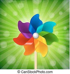 groene, pinwheel, zonnestraal, kleurrijke