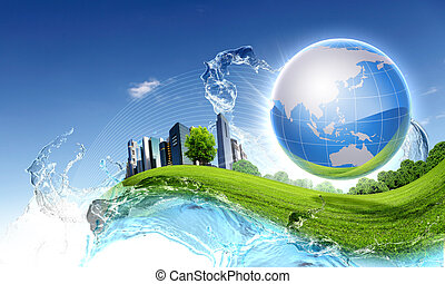 groene planeet, tegen, blauwe hemel, en, schoonmaken, natuur