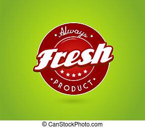 groene, plank, met, fris, product, teken.