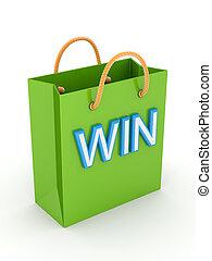 groene, plastic, pakket, met, een, groot, woord, win.