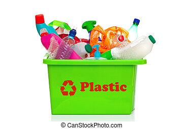 groene, plastic, recyclerende bak, vrijstaand, op wit