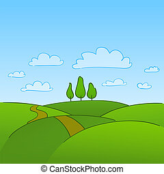 groene, platteland, en, bomen