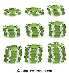 groene, pokerchips, opperen, vector., realistisch, set., pook, spel, frites, meldingsbord, vrijstaand, op wit, achtergrond., casino, succes, concept, illustration.