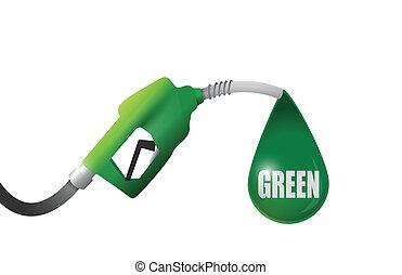 groene, pomp, gas, illustratie, ontwerp