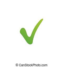 groene, positief, vector, witte , achtergrond., liggen, checkmark, vrijstaand, illustratie