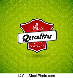 groene, product, kwaliteit, teken., plank