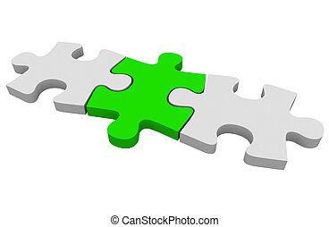 groene, raadsel, het oplossen, drie, samen, stukken, het verbinden, samenhangend, probleem, stuk
