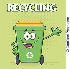 groene, recycl bak, met, tekst