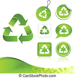 groene, recycling, ontwerp, uitrusting