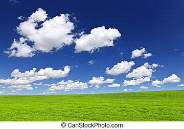 groene, rollende heuvels, onder, blauwe hemel
