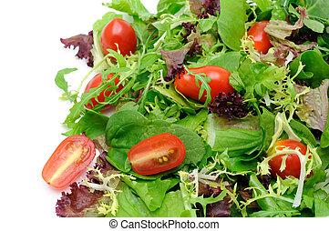 groene salade, en, tomaten