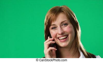 groene, scherm, beeldmateriaal, van, een, vrouw, op de telefoon