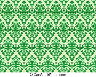 groene, seamless, textuur, damast
