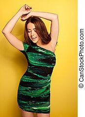groene, sensueel, dancing, jurkje, slinky, vrouw