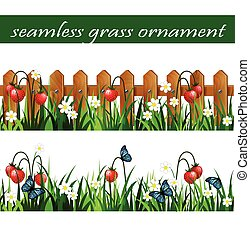 groene, set, gras, seamless