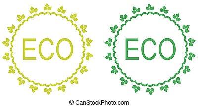 groene, set, van, organisch, labels.