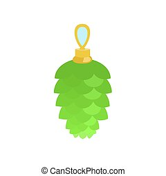 groene, speelbal, pijnboom, pictogram, plat, stijl