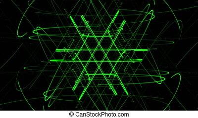 groene, ster, deeltje, op, donkere achtergrond